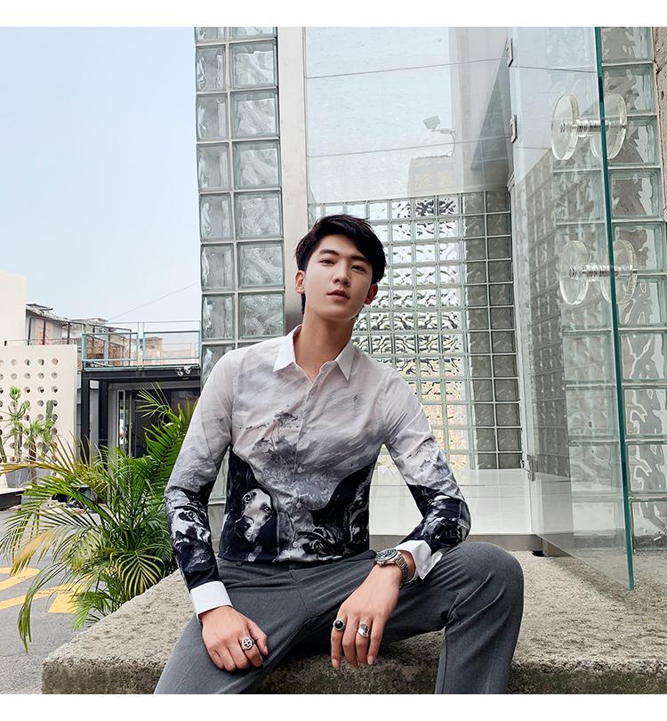 Horizon men's four seasons cotton straight spray animal print slim personality shirt long-sleeved casual shirt youth 42 Online shopping Bangladesh