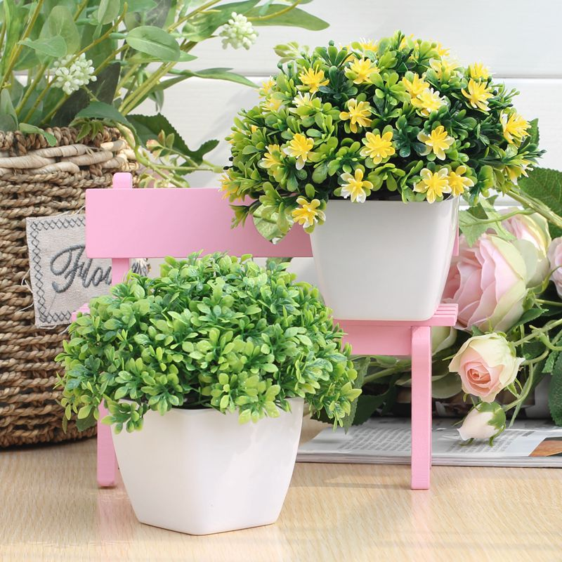 бонсай Свежие моделирование пластиковые поддельные цветок цветочный горшок завод домашнего гостиной украшения зеленые растения и цветы