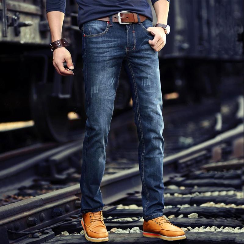 男士牛仔裤子加绒加厚外穿冬天修身直筒小脚带绒青年2019秋冬新款