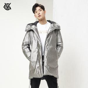 VGO男款太空银色羽绒服中长款白鸭绒加厚保暖韩版潮流羽绒外套新