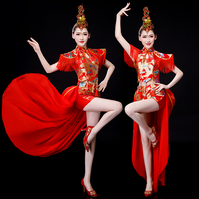 Jazz Dance Costumes Drum costume performance dress Chinese fans waist drum Dress Adult cheongsam modern dance performance dress