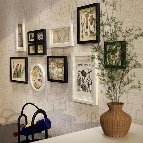 欧锋实木照片墙现代简约相片墙家居背景墙装饰创意组合挂墙相框