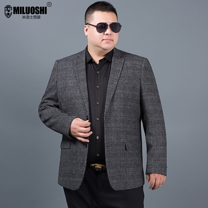 bee5d34f0e7 Extra large size men s suit jacket plus fertilizer to increase loose fat  man wool plaid suit business casual shirt tide