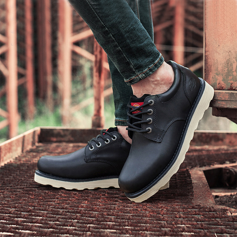 1bd7ad39332 Dickies men's shoes summer British casual wear shoes men's low to help  large leather scalp shoes round head wild