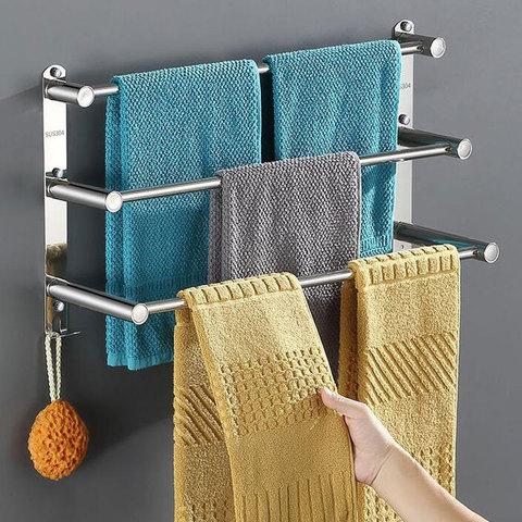 毛巾架免打孔卫生间置物架浴巾架洗手间浴室厕所不锈钢挂毛巾杆子