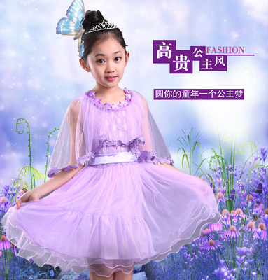 Children's summer models 2017 girls dress summer new princess dress big girl lace flower girl dress performance skirt