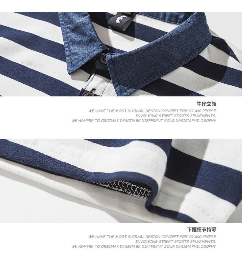 Đến năm 2018 mùa hè phong cách Harajuku ngắn tay ve áo sọc polo áo sơ mi lỏng T-Shirt những người yêu thích linh hồn biển áo sơ mi nam giới và phụ nữ ao polo
