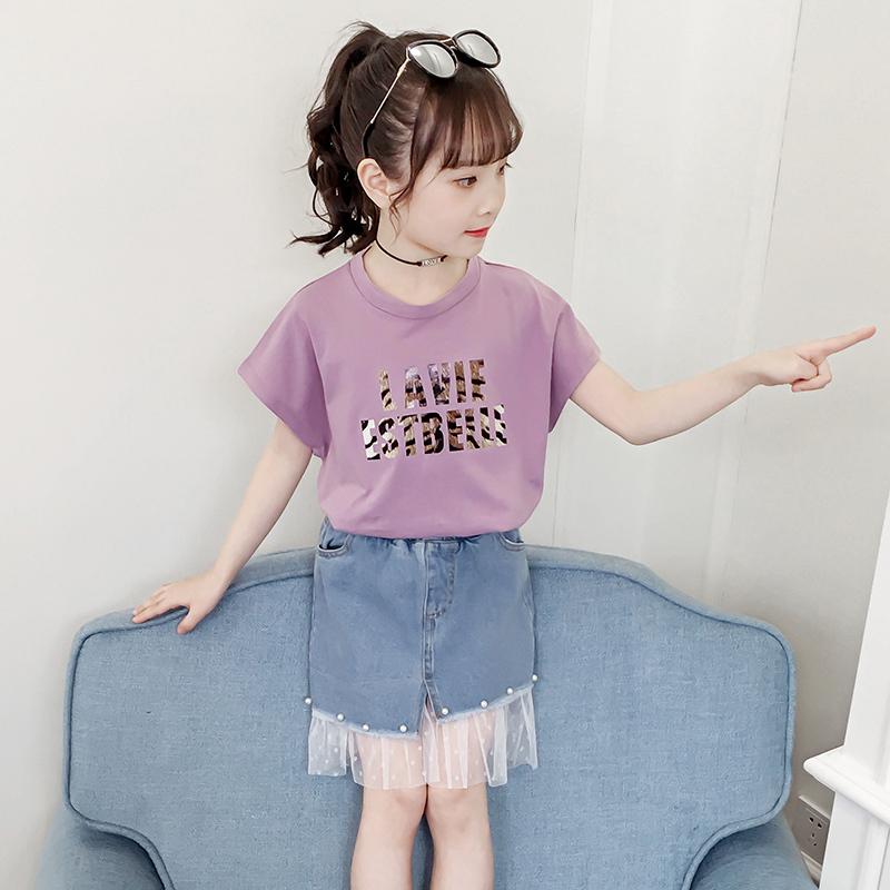 2019新款短裙夏季牛仔T恤中大童纱裙洋气网件套摆女孩儿童俩纯棉