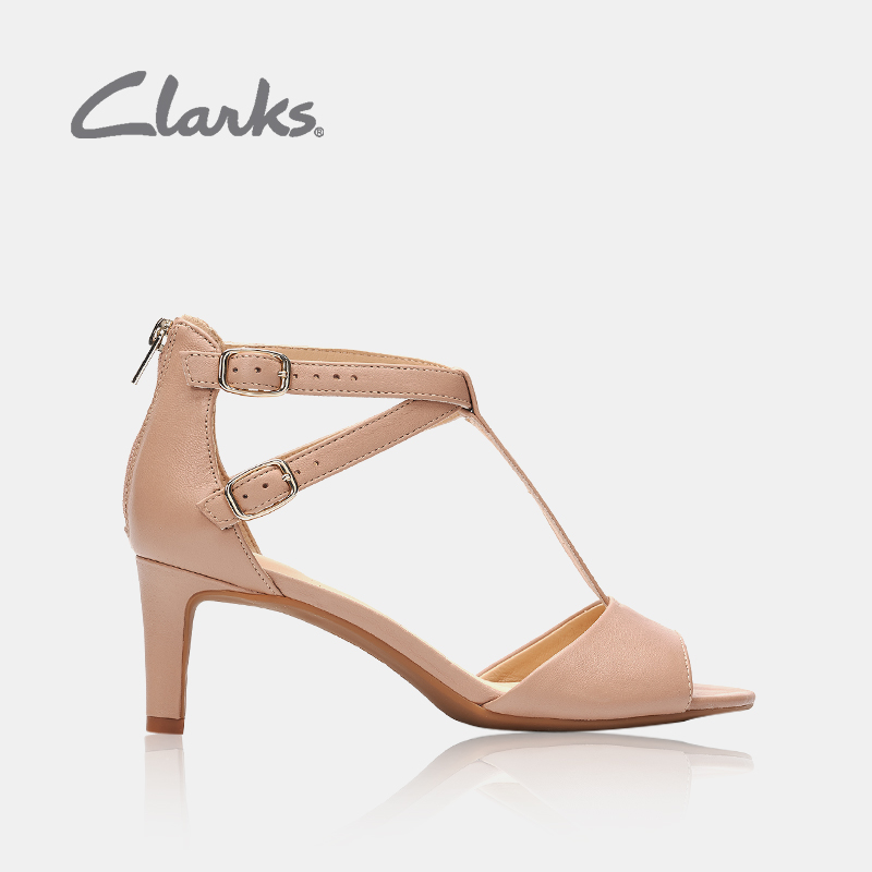 f8f1e230a781 clarks her music shoes Laureti Pearl dress open toe T word with fine  high-heeled sandals female summer wear