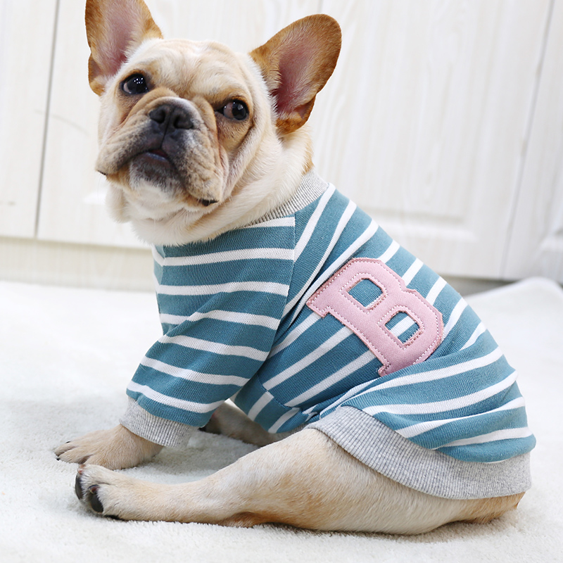 db8df0ab4a89 Product details of France Bulldog Pet Dog Clothes Pug Corgi Small Dogs  Obesity Puppy Stripes Round-neck Shirt Sweater