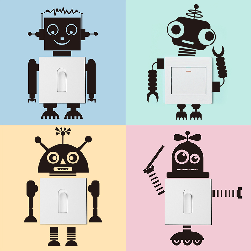 Usd 520 Simple And Cute Robot Heart Stickers Boy Bedroom