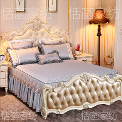 No tail bed skirt three-piece European style no tail bed cover on both sides bedspread Tencel Modal ice silk princess lace