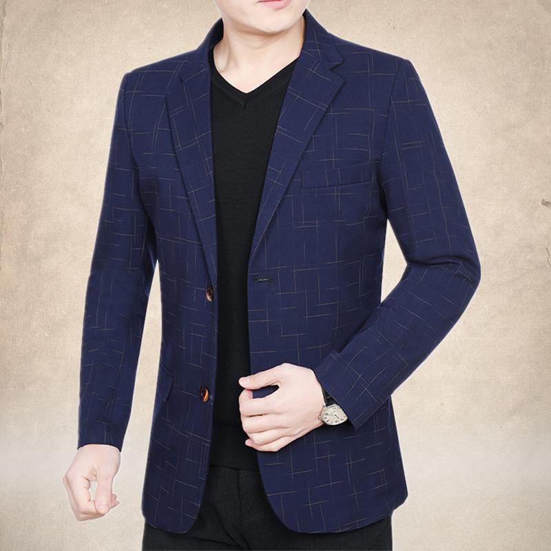 中年外套西装小西服男薄款v外套男士男韩版修身便西2019春秋季新款