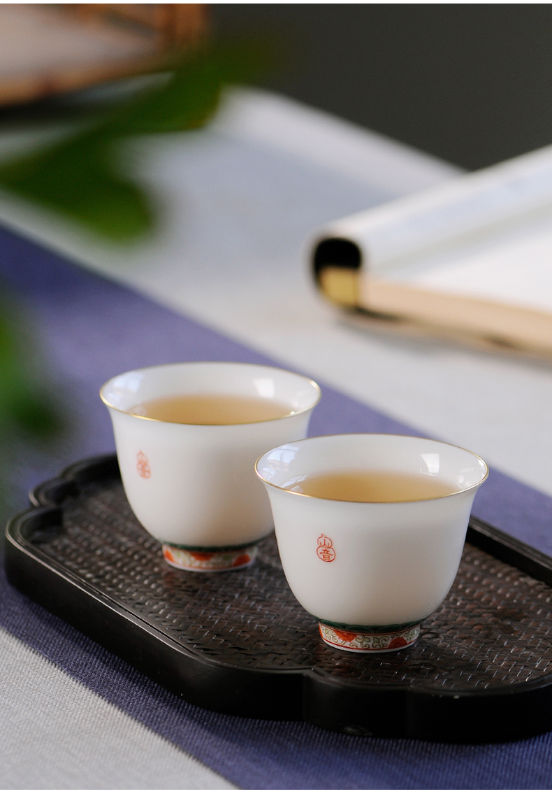 Mountain sound jingdezhen pastel hand - made master kung fu tea cups sample tea cup cup single CPU personal cup pure manual thin foetus
