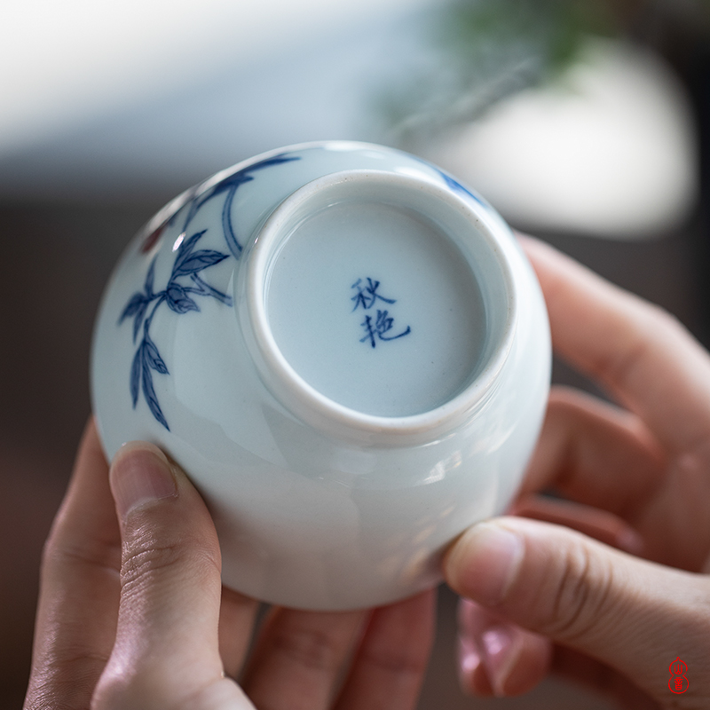 Qin Qiuyan jingdezhen blue and white youligong peony flower cup checking ceramic cups masters cup kung fu tea set