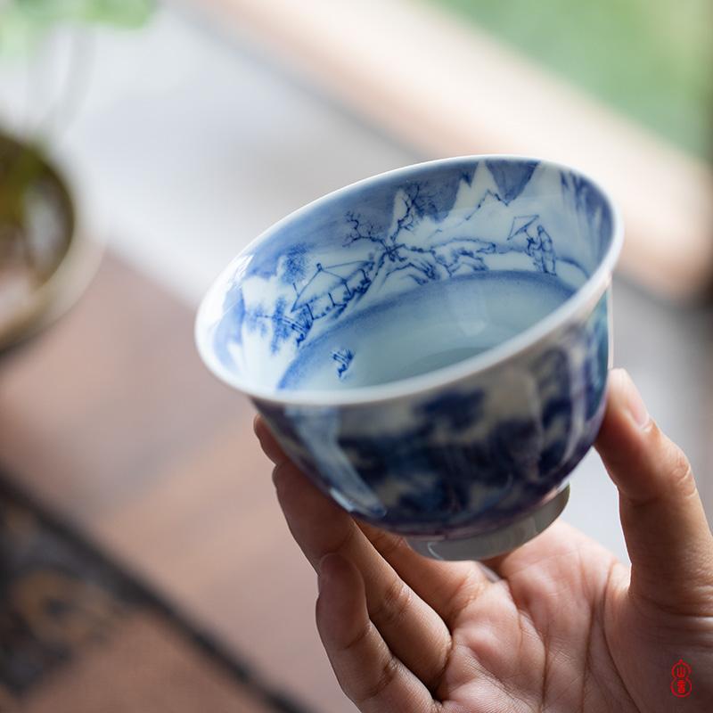 Lin Yin panasonic talk only three tureen jingdezhen porcelain high - end tureen hand - made teacup single tea bowl