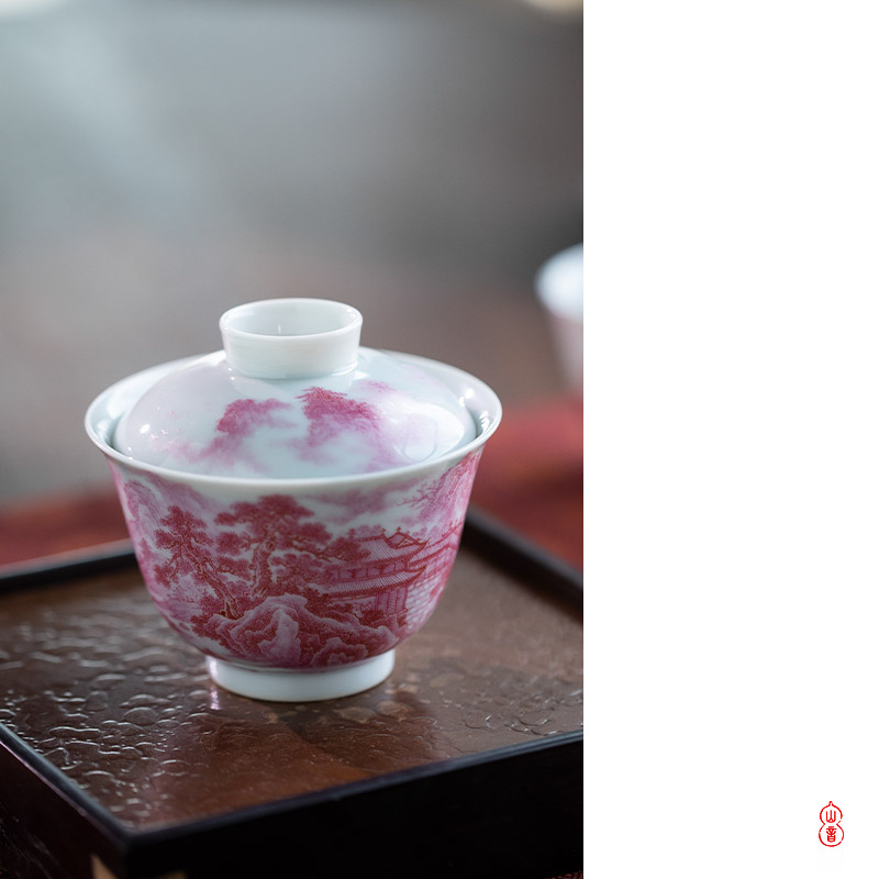 Agate red landscape tureen found of art hall jingdezhen checking ceramic tureen only a single second tureen tea bowl