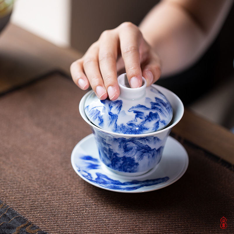 Days of blue and white landscape water chestnut tureen - precious little of jingdezhen ceramic green room tureen tureen high - end three cups