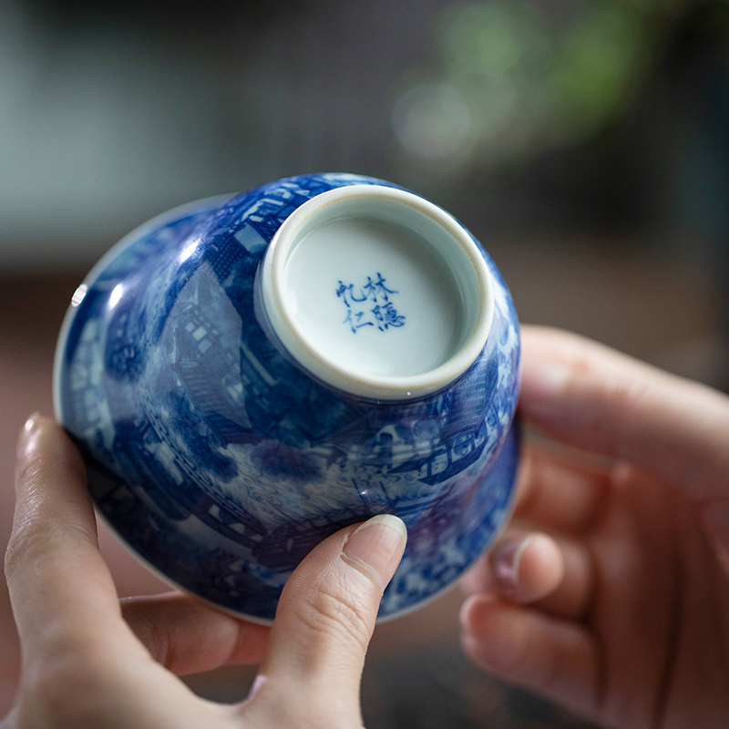 Lin Yin jingdezhen blue and white hand draw qingming painting only three tureen checking ceramic high - end tureen tea bowl