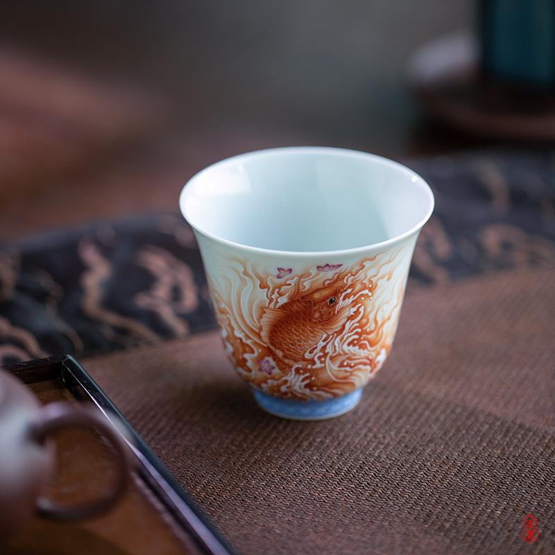 Much luck wen - hua liu alum red fish flora of high - end tea master of jingdezhen ceramic sample tea cup cup