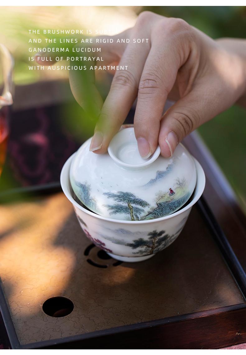 Mountain sound castle peak jing ya just tureen jingdezhen ceramic tureen tea cups white porcelain tureen single pure manual painting