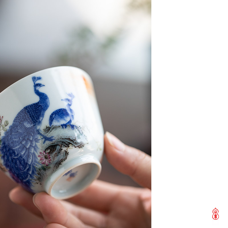Add the peacock and found of art hall of jingdezhen checking ceramic cups master cup kung fu tea sample tea cup
