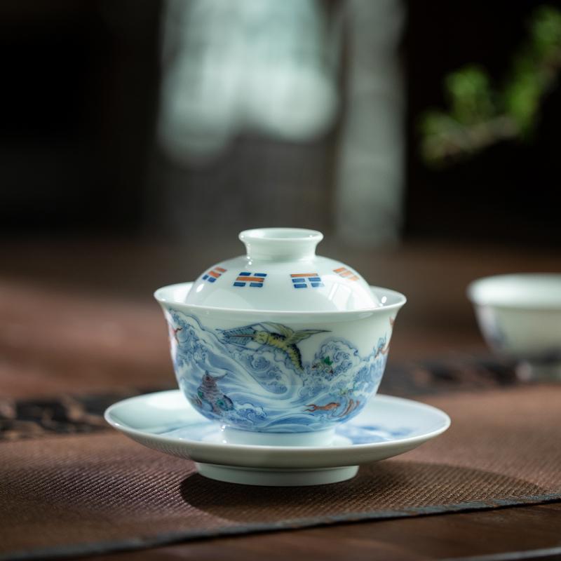 Qin Qiuyan bucket color sea monster grain tureen jingdezhen pure manual three high - end tea sets tea tureen ceramic bowl