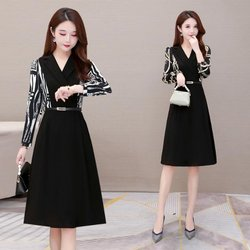 Xiaoli Wardrobe Factory Store [Xiaoli Custom] suit collar long-sleeved dress female 2021 new style cover belly hot