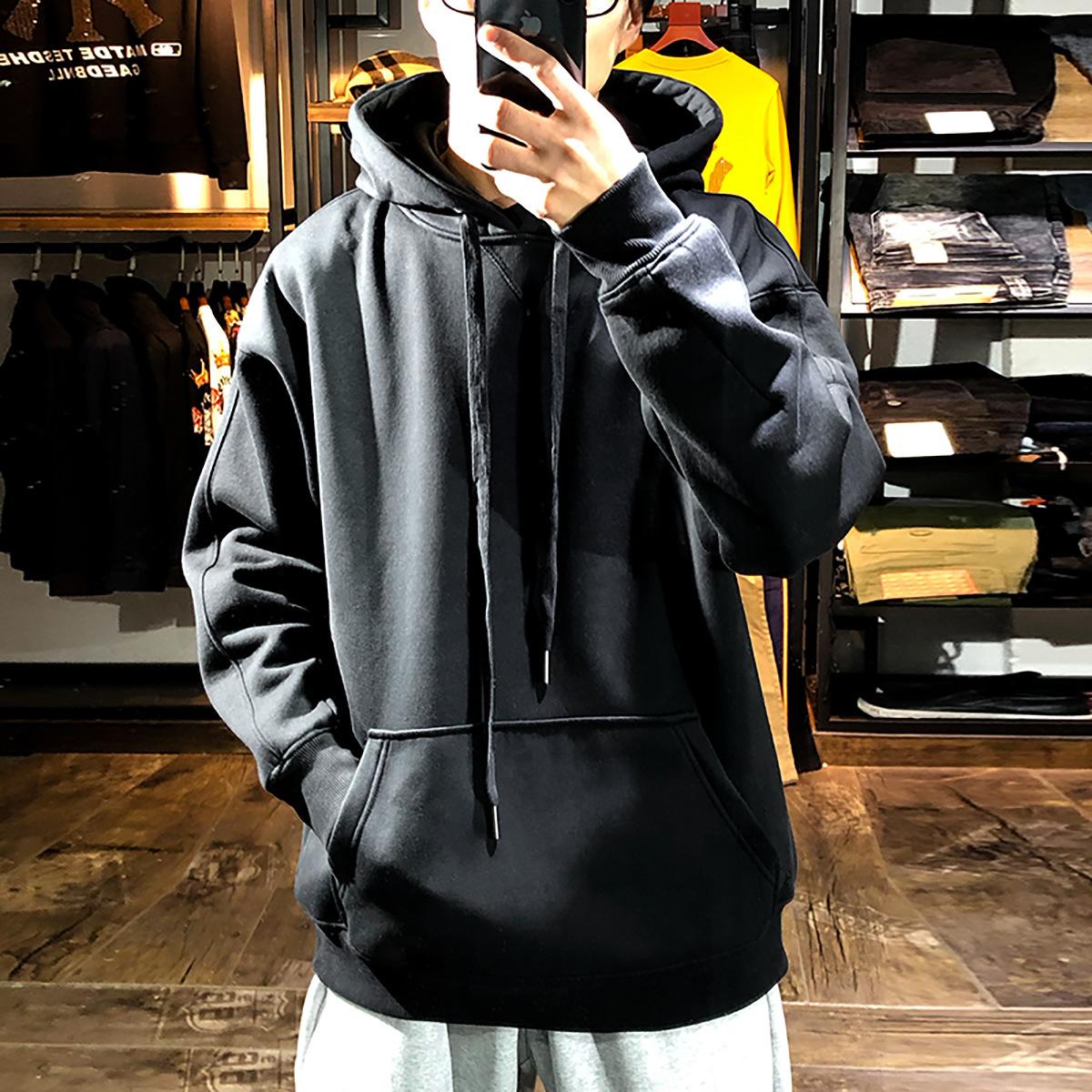 Áo thun nam mùa xuân phong cách Hong Kong trùm đầu hợp thời trang thương hiệu áo len nam màu đen tinh khiết - Áo len
