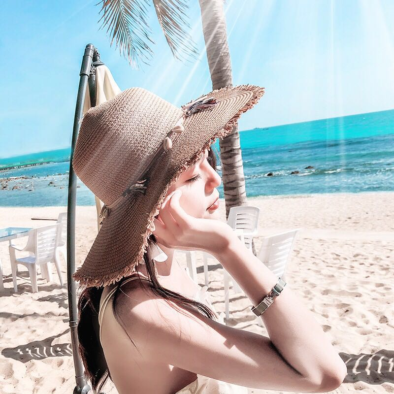 fc710325 Hat female sun hat travel beach sunshade straw hat seaside holiday ...