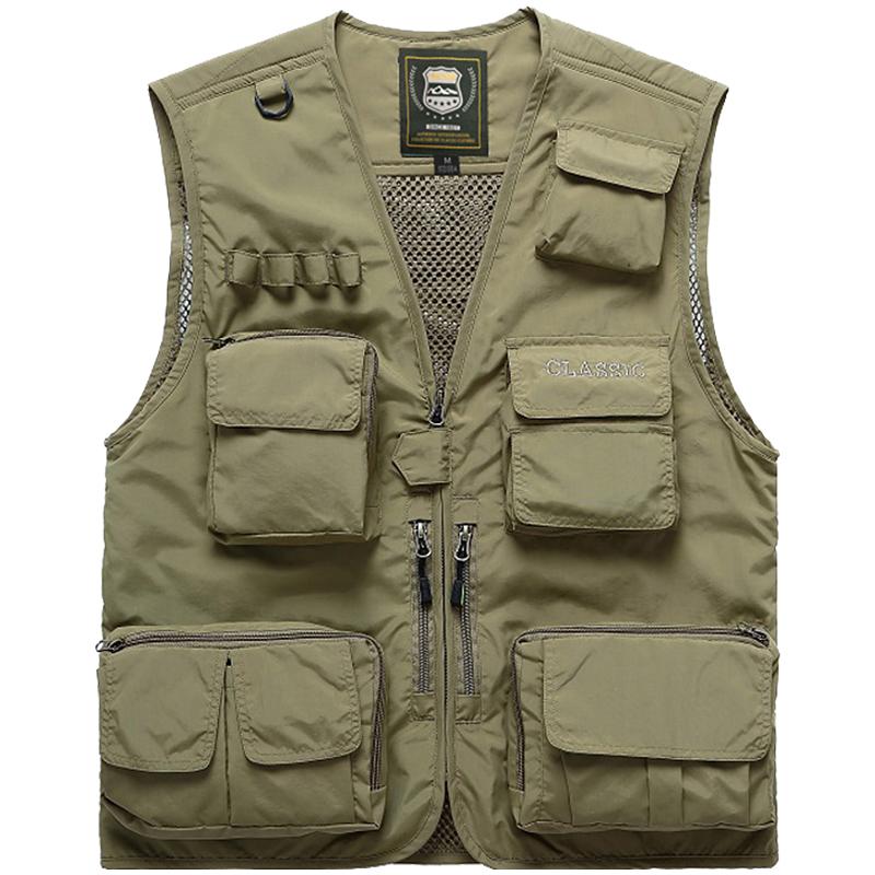 Jeep Shield mùa xuân, mùa thu và mùa hè ngoài trời nhiều túi áo chụp ảnh câu cá vest nam áo ghi lê giản dị áo ghi lê mỏng - Dệt kim Vest