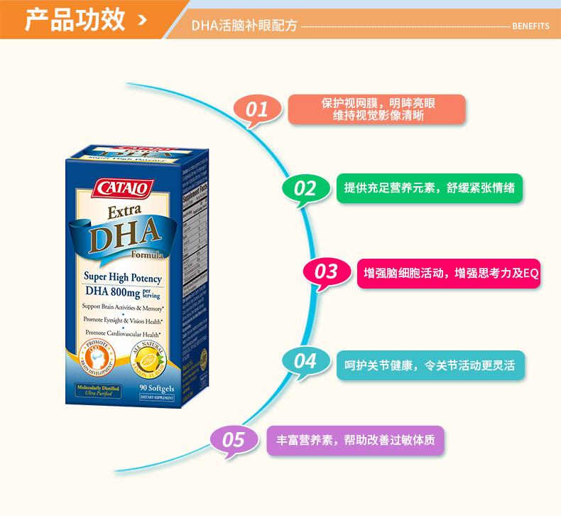 CATALO特强DHA鱼油美国进口深海鱼油胶囊omega-3奥米加三*90粒 儿童成长 第11张