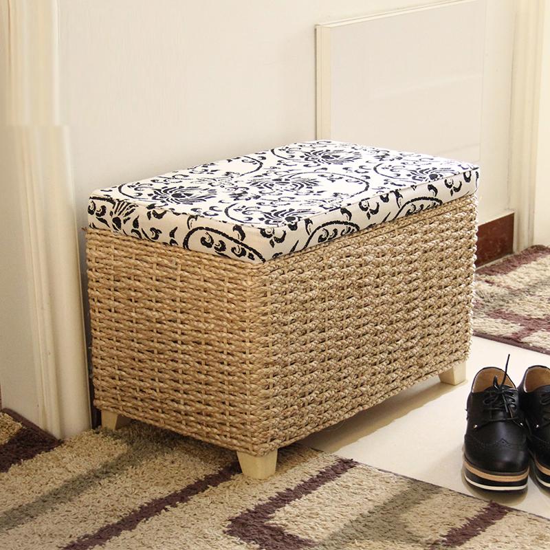 包邮欧式天然草编收纳凳储物箱储物凳坐箱藤编坐凳实木换鞋凳矮凳