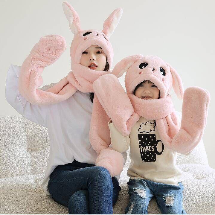 仿兔毛帽子冬季流行会动的兔耳朵成人亲子儿童围巾手套一体小学生