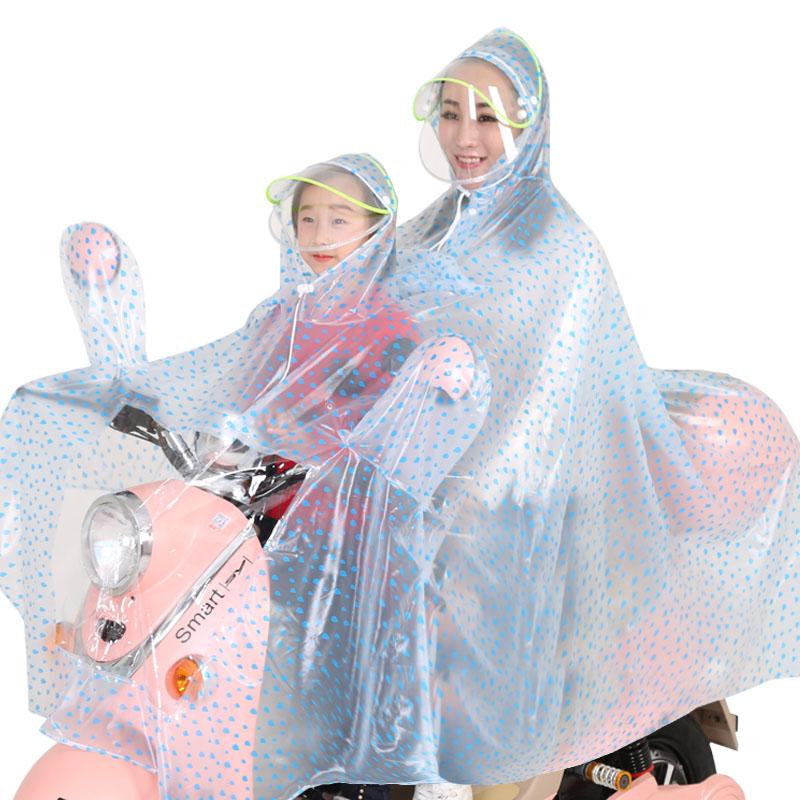 雨衣双人电动车骑摩托车电瓶车自行车女加大母子学生儿童透明雨披