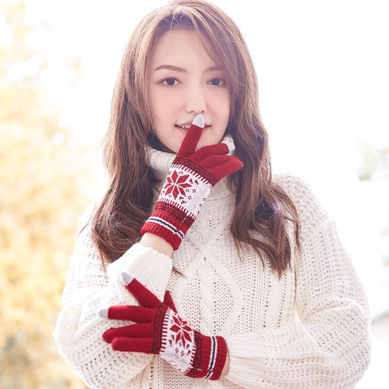 毛线触屏手套男女冬季加绒韩版针织五指厚棉学生防寒保暖情侣手套