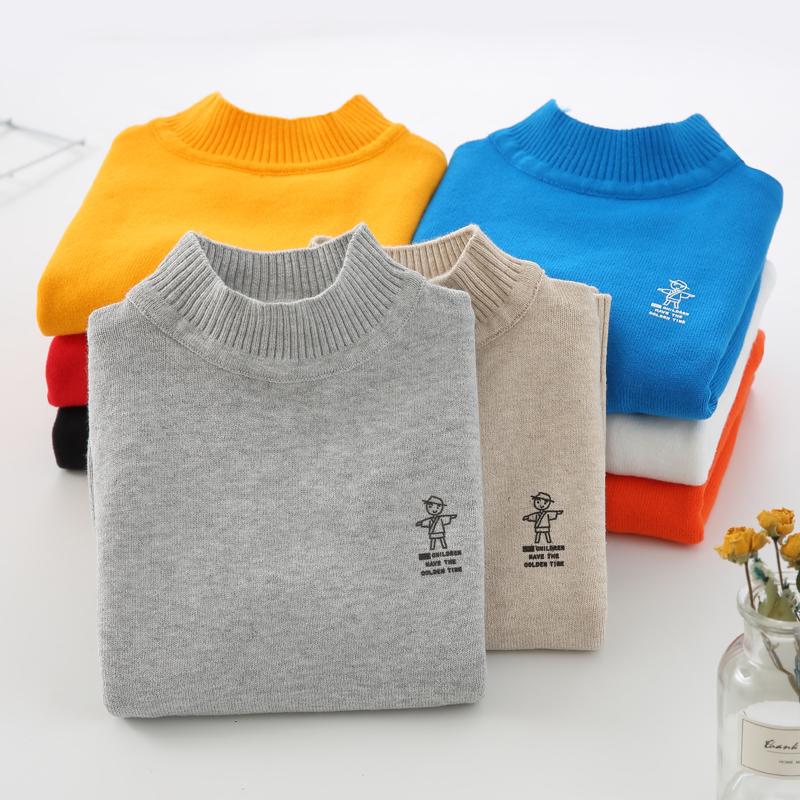儿童毛衣男童秋冬款圆领套头线衣女童装中大童宝宝高领针织打底衫