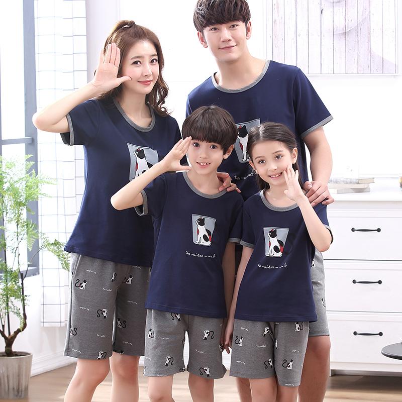 Cha mẹ và con mặc đồ ngủ mùa hè 2018 làn sóng mới ngắn tay bông gia đình nhà thai sản của phụ nữ gia đình ba hoặc bốn dịch vụ nhà