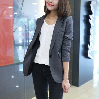 Spring and autumn 2020 new small suit Korean version slim suit coat women's casual Blazer female grey