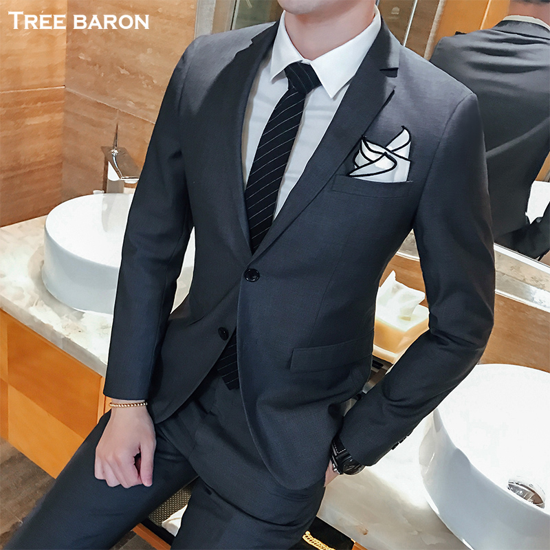 Double buckle gray two-piece suit (top + pants)