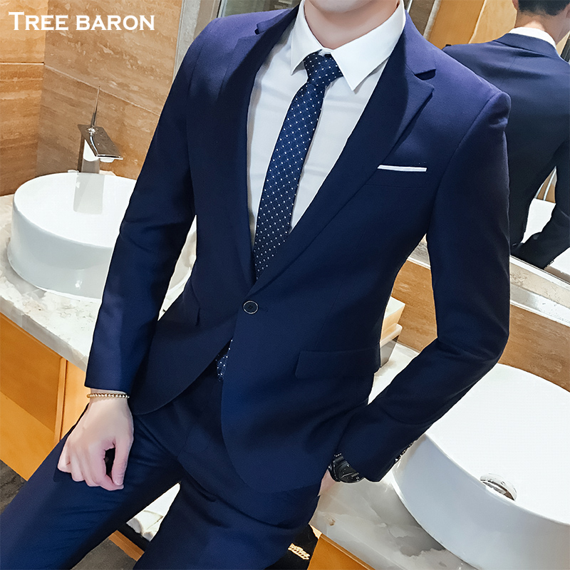 Single button dark blue two-piece suit (top + pants)