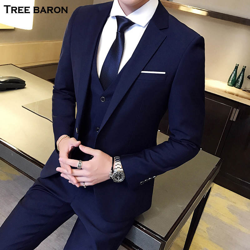 Single button dark blue three-piece suit (top + vest + pants)