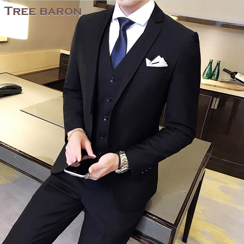 Double buckle black three-piece suit (top + vest + pants)