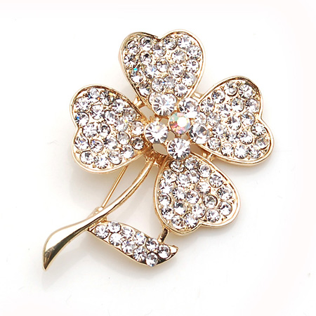 Light Gray Four-leaf Clover Gold