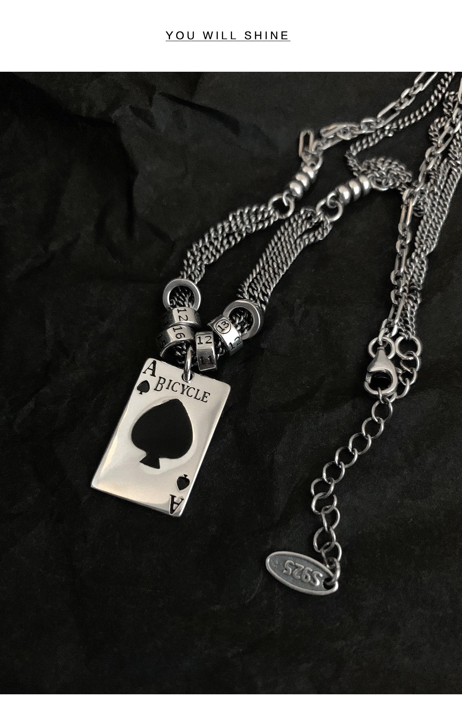 银卫衣项链女毛衣炼简约设计泰银復古黑桃方牌网红锁骨链详细照片