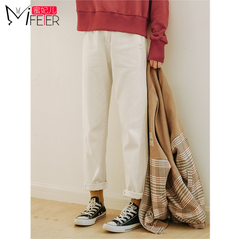 Mi Fei children white jeans female 2019 autumn new loose CEC pants female was thin wide leg straight pants