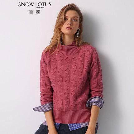 纯山羊绒衫圆领套头绞花针织毛衣