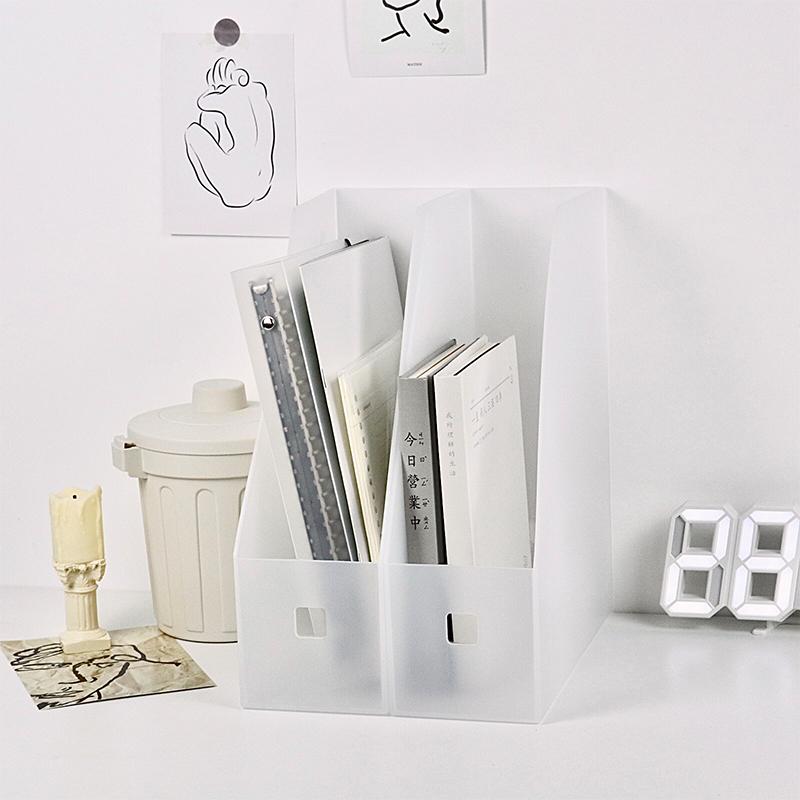 无印书立创意ins风透明加厚磨砂书夹书靠文件架资料文件框收纳盒