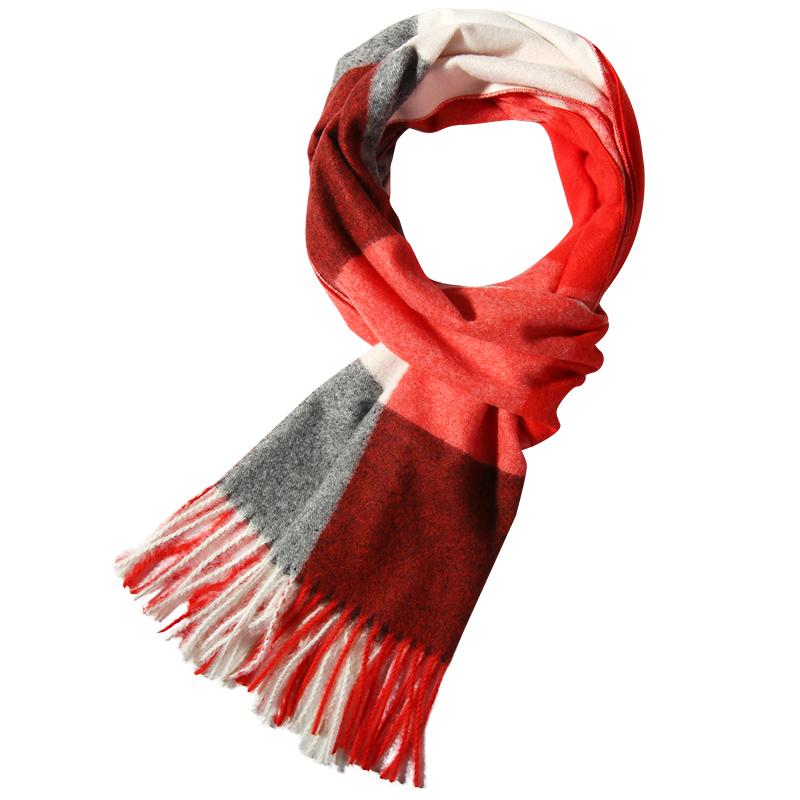 上海故事女男冬季仿羊毛羊绒红白格子旗舰店2019新款窄小围巾薄款