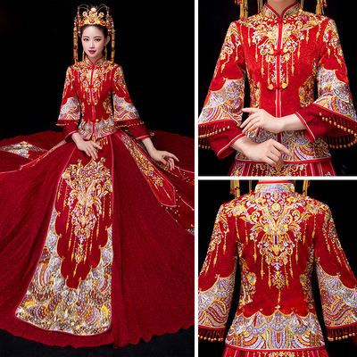 Chinese wedding dress dress bride married Chinese toast dress pleated skirt dragon and Phoenix dress Traditional Chinese Clothing